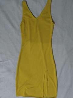 Brand New Sleeveless Slit Dress in Mustard Yellow 😍😍