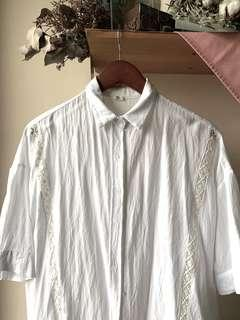 White lace panel button up blouse
