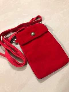 Used-Red Sling Bag-Size 13.5cm Long x 9cm-Velvet Fabric-Free local Mail