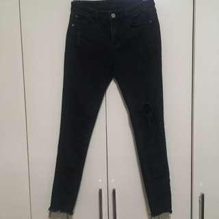 Black ripped frayed jeans