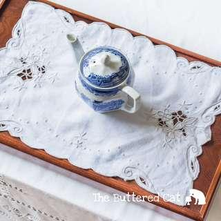 RESERVED Vintage off white cut-work lace mat, tray mat, dresser mat