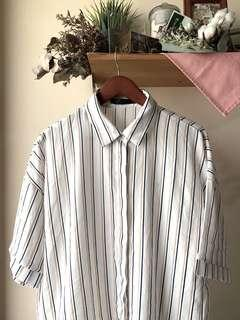 BN white striped collared 3/4 sleeve blouse