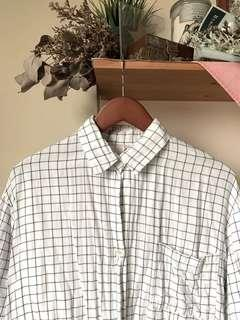 White grid button up long sleeve