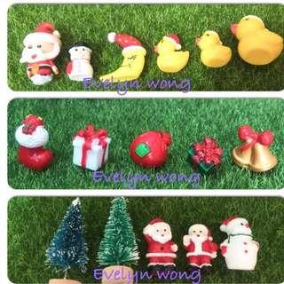 🎄Terrarium Christmas / Xmas Figurines / Accessories - Christmas Tree, Santa Claus, Snowman, Gift Box, Gold Bell, Red Sock, Red Gift Bag, Smiling Moon, Duckling with Xmas Hat etc