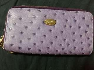Purple Fashion Ostrich Leather Long Wallet