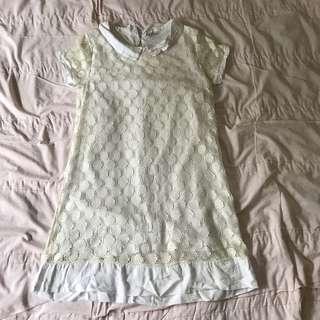 Zara white collared lace straight cut one piece dress