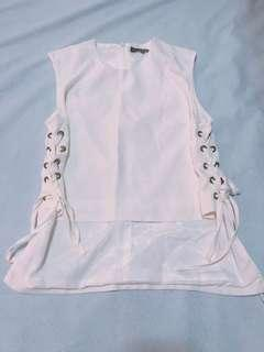 MDS white tank top with side tie-down details