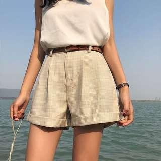Beige Checkered Shorts #single11