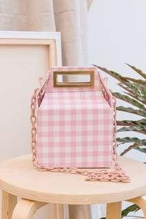 Box Chain Bag Pink Gingham (POP&SUKI)