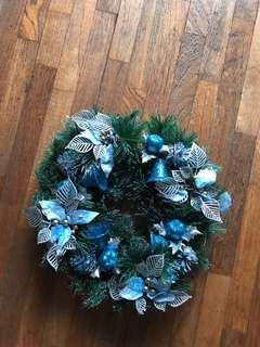 Christmas Xmas wreath blue 30cm