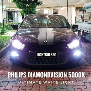 VW Scirocco on H7 philips diamondvision white light car headlight bulb + installation