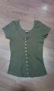 CO Army Green Khaki Ribbed Top