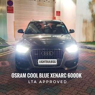 Audi HID headlight bulb replacement. Original D3S Osram 6000k white light. Inclusive of installation. For Q3 Q5 A3 A4 A5 A6 A7