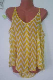 yellow chiffon top