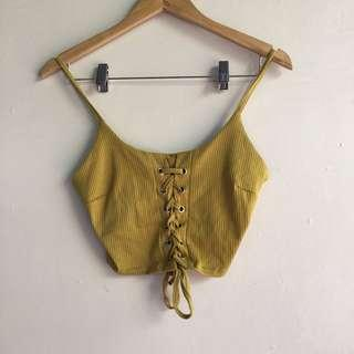 Yellow Cropped Cami Top