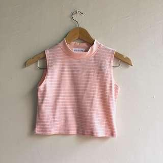 Pink Pastel Mock Crop Sleeveless Top