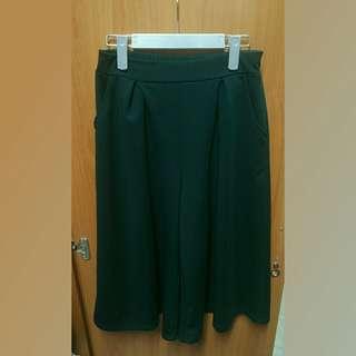 🚚 ⭐厚磅墨綠色後鬆緊寬褲