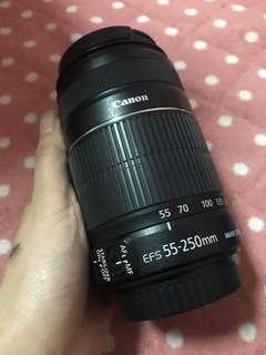 Canon zoom lens 55-350mm with audiotechnina camera bag