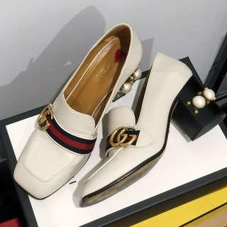 Authentic Gucci Leather Mid Heel Loafer
