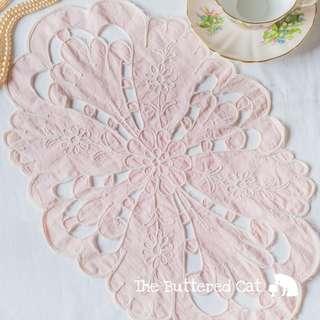 Pretty pale pink vintage cut-work lace tray mat, dresser mat