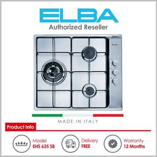 ELBA ( EHS 635 SB ) 60cm 3 Burner Built-In Gas Hob with Stainless Steel Top