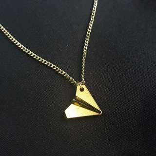 Gold Paper Airplane Necklace