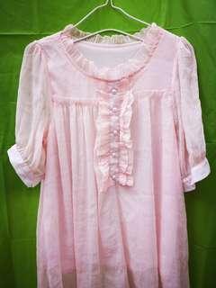 粉紅洋裝雙層不透視