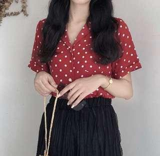 INSTOCK ULZZANG RED POLKADOT COLLARED TOP BLOUSE