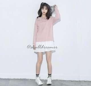 INSTOCK ULZZANG BABYDOLL COLLARED FLORAL EMBROIDERY BABYPINK TOP