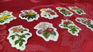 9pcs. Retro flower stickers