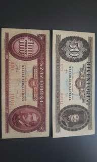 匈牙利鈔票兩張包郵