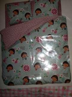 小丸子圖案纹床單,枕套,被袋。