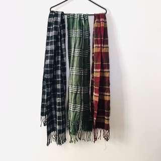 Maroon / green / black and white Plaid Scarf