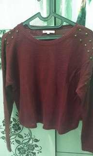 Knit sweater colorbox maroon