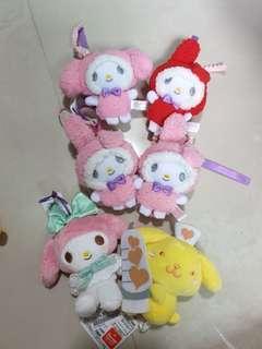 Sanrio My Melody / Pompompurin Plush Keychains