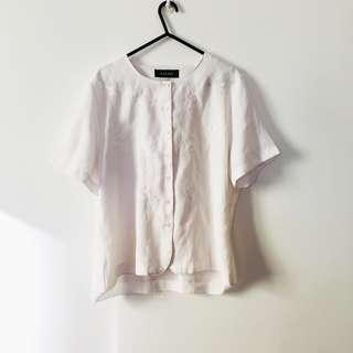 Vintage White Button-up Blouse (Floral Detailing)