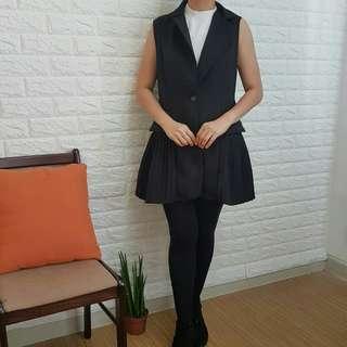 Black Royal Pleated Dress