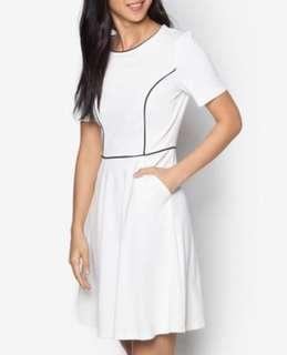 🚚 [Zalora Collection] Piping Fit And Flare Dress In White