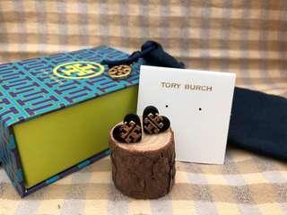 Tory Burch Black Tilsim Logo Heart Stud Earrings
