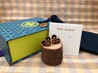 Tory Burch Tortoise Tilsim Logo Heart Stud Earrings