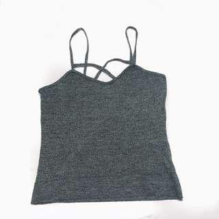 Grey knitted v neck crop top