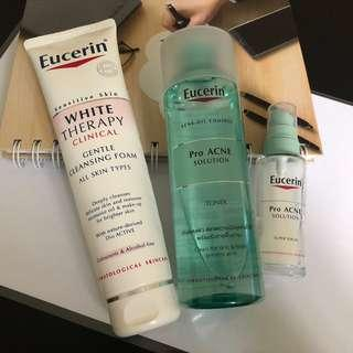 Eucerin White Therapy Cleansing Foam with Pro Acne Solution (Toner + Serum)