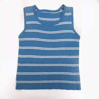 Stripes blue knitted crop top