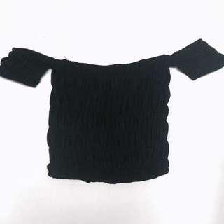 Black smocked off shoulder crop top
