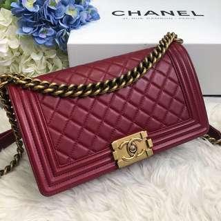❤️Superb Deal!❤️ Chanel Old Medium Leboy Flap in Wine Red Lambskin Aged GHW