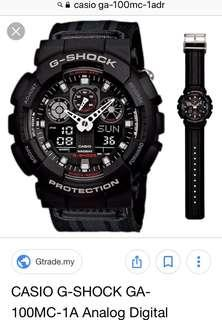 Casio G-Shock GA-100MC-1ADR original black/grey cloth band. Almost new condition.