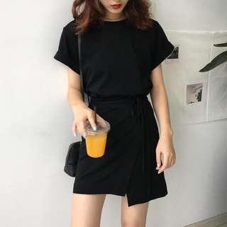 #SINGLES1111 Ready stock Korean Casual Tee Tie Dress