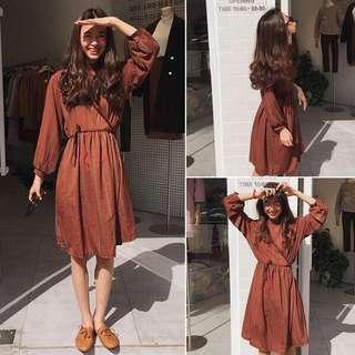 #SINGLES1111 Ready stock Korean Feminine Checkered Dresses