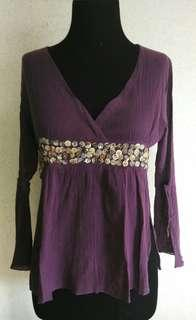 Linen-type Faux Wrap Embellished Top with Flared Sleeves
