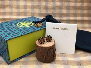 Tory Burch Black Stud Logo Flower Resin Earrings